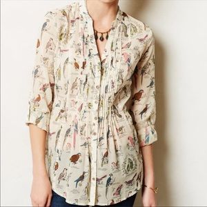 Anthropologie Maeve Pintuck Bird Print Blouse Sz 2